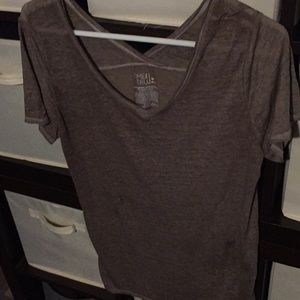Beige color, white stitched, Deep V in front Tee